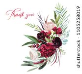 watercolor floral illustration  ... | Shutterstock . vector #1105258019