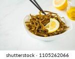 sea kale kelp salad with oil in ...