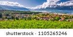Panorama view of Montreux city with Swiss Alps, lake Geneva and vineyard on Lavaux region, Canton Vaud, Switzerland, Europe.
