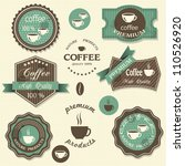 vector coffee labels. vintage... | Shutterstock .eps vector #110526920