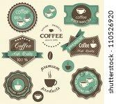 vector coffee labels. vintage... | Shutterstock .eps vector #110526920