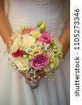 wedding bouquet on bride's...   Shutterstock . vector #1105273346