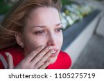 a beautiful girl is crying ... | Shutterstock . vector #1105275719