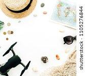summer travel concept. frame... | Shutterstock . vector #1105276844