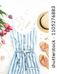 summer female fashion stylish... | Shutterstock . vector #1105276883