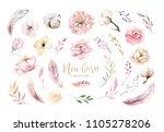 watercolor boho floral wreath.... | Shutterstock . vector #1105278206