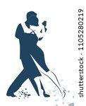 couple dancing tango drawn... | Shutterstock .eps vector #1105280219