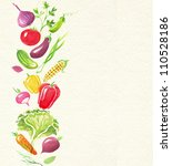 watercolor card with vegetables | Shutterstock . vector #110528186