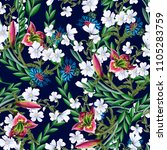seamless pattern with lilies... | Shutterstock .eps vector #1105283759