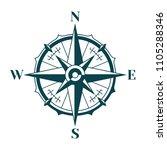 vintage nautical compass rose... | Shutterstock . vector #1105288346