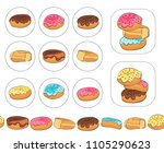 set of color labels with donuts.... | Shutterstock .eps vector #1105290623