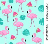 summer pattern with flamingos ... | Shutterstock .eps vector #1105296650