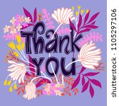 thank you card with lettering... | Shutterstock .eps vector #1105297106