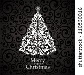 christmas card. christmas tree. ... | Shutterstock .eps vector #110530016