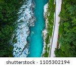 road along soca river in...   Shutterstock . vector #1105302194