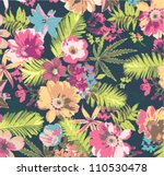 Stock vector tropical flower pattern on blue background 110530478