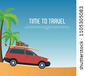 time to travel with car vector...   Shutterstock .eps vector #1105305083
