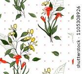 retro wild seamless flower... | Shutterstock .eps vector #1105308926