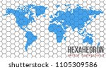 vector flat world map with... | Shutterstock .eps vector #1105309586