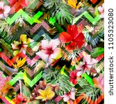 colorful tropical pattern... | Shutterstock . vector #1105323080