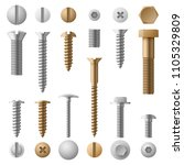 stainless bolts screws  nuts ... | Shutterstock .eps vector #1105329809