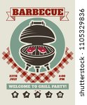 retro barbecue party restaurant ... | Shutterstock .eps vector #1105329836