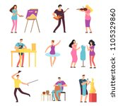 cartoon artists and musicians... | Shutterstock .eps vector #1105329860
