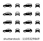 cars front and side view signs. ... | Shutterstock .eps vector #1105329869