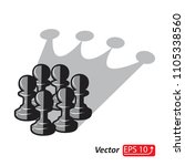 chess pawn group with shadow... | Shutterstock .eps vector #1105338560