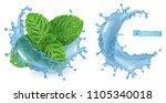 splash water and mint. 3d... | Shutterstock .eps vector #1105340018