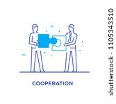 businessmen connect puzzle.... | Shutterstock .eps vector #1105343510