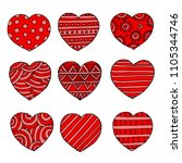 hand drawn heart shapes ... | Shutterstock . vector #1105344746