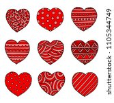 hand drawn red hearts  doodle... | Shutterstock . vector #1105344749