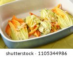 stuffed zucchini or courgette... | Shutterstock . vector #1105344986