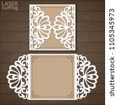 laser cut wedding invitation... | Shutterstock .eps vector #1105345973