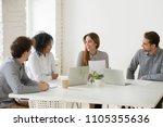 multiracial coworkers... | Shutterstock . vector #1105355636