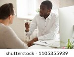 serious multiracial workers... | Shutterstock . vector #1105355939