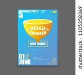 vector hello summer beach party ...   Shutterstock .eps vector #1105358369