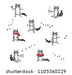 funny racoon set. vector... | Shutterstock .eps vector #1105360229