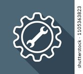 wrench in gear. white flat icon ... | Shutterstock .eps vector #1105363823