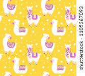seamless pattern with llama ... | Shutterstock .eps vector #1105367093