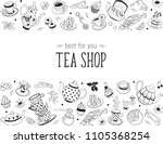 tea time doodle elements in... | Shutterstock .eps vector #1105368254
