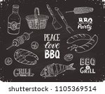hand drawn barbecue objects on... | Shutterstock .eps vector #1105369514