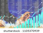 businessman on digital stock... | Shutterstock . vector #1105370939