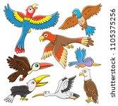 set of  birds cartoon.simple... | Shutterstock .eps vector #1105375256