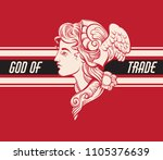 god of trade. vector hand drawn ... | Shutterstock .eps vector #1105376639