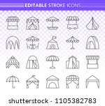 tent thin line icons set.... | Shutterstock .eps vector #1105382783