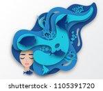 vector paper portrait of young... | Shutterstock .eps vector #1105391720