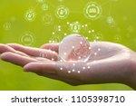 glass globe in woman hand on... | Shutterstock . vector #1105398710