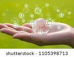 glass globe in woman hand on...   Shutterstock . vector #1105398713